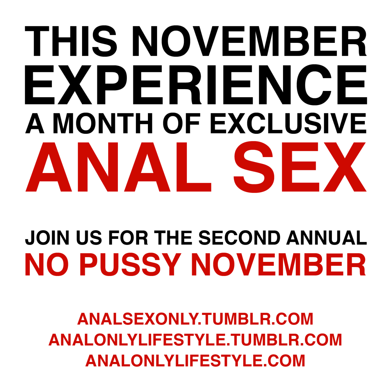 This November Experience A Month of Exclusive Anal Sex - Join Us In The Second Annual No Pussy November